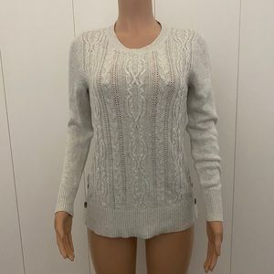 Ann Taylor Side Button Cable Knit Sweater Size MP